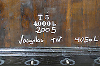 touriga nacional sign on tank vargelas 2005 quinta do vallado douro portugal