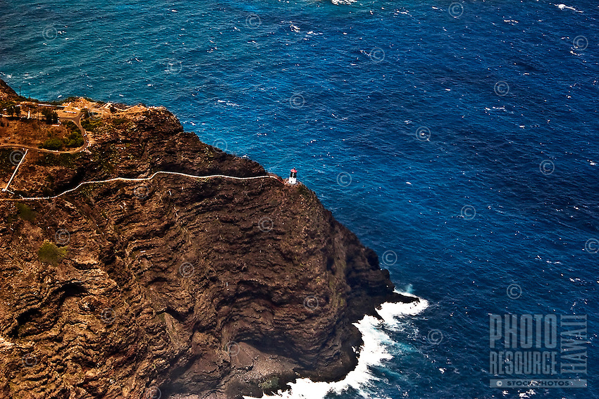 Makapu'u Lighthouse,afamiliar O'ahu landmark,perched on a cliff above crashing waves