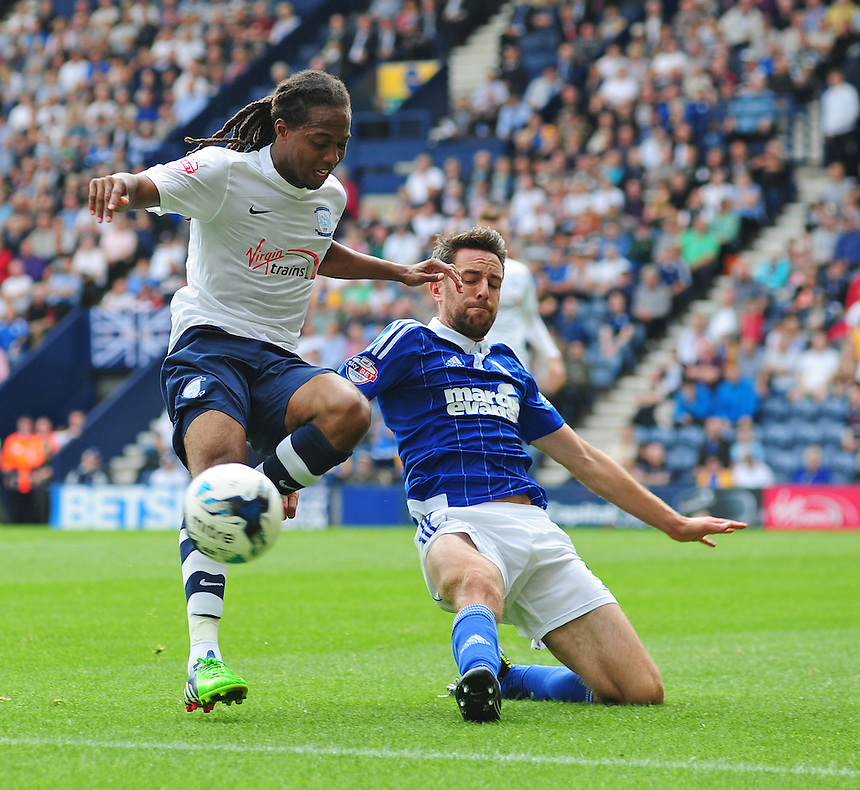 Preston North End's Daniel Johnson is tackled by Ipswich Town's Cole Skuse<br /> <br /> Photographer Chris Vaughan/CameraSport<br /> <br /> Football - The Football League Sky Bet Championship - Preston North End v Ipswich Town - Saturday 22nd August 2015 - Deepdale - Preston<br /> <br /> &copy; CameraSport - 43 Linden Ave. Countesthorpe. Leicester. England. LE8 5PG - Tel: +44 (0) 116 277 4147 - admin@camerasport.com - www.camerasport.com
