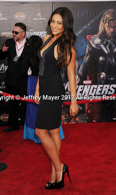 HOLLYWOOD, CA - APRIL 11: Shay Mitchell attends the World premiere of 'Marvel's Avengers' at the El Capitan Theatre on April 11, 2012 in Hollywood, California.