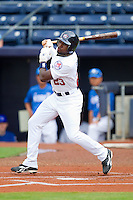 Jackie Bradley Jr. #23 of Team USA follows through on his swing against Team Korea at Durham Bulls Athletic Park July 18, 2010, in Durham, North Carolina.  Photo by Brian Westerholt / Four Seam Images