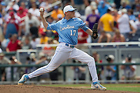 North Carolina pitcher Chris McCue (17) delivers a pitch to the plate during Game 3 of the 2013 Men's College World Series against the North Carolina State Wolfpack at TD Ameritrade Park on June 16, 2013 in Omaha, Nebraska. The Wolfpack defeated the Tar Heels 8-1. (Andrew Woolley/Four Seam Images)