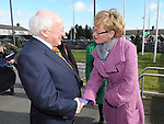 President of Ireland Michael D Higgins meets Mairead McGuinness MEP at the launch of National Tree week in Ardee. Photo: Colin Bell/pressphotos.ie
