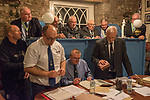 The annual election of the new Portreeve of Laugharne, Carmarthen, Wales on the first Monday following Michaelmas. 2019. Takes place in the Big Court of the town hall. In 2019 David Lynn Jones became the Portreeve, seen here being sworn in.