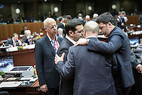 Pictured: Greek Prime Minister Alexis Tsipras (2nd L) with colleagues Thursday 18 February 2016<br /> Re: David Cameron looks set to secure European Union deal on Britain's reforms during a summit in Brussels, Belgium.