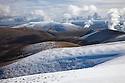 View from Skiddaw looking towards Blencathra. Lake District National Park, Cumbria, UK. February.
