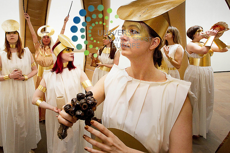 Artists Zoe Walker and Neil Bromwich with their new commissioned art installation, The Goddess of Fortuna, at the National Museum of Scotland, Edinburgh, 30th December, 2012..Picture:Scott Taylor Universal News And Sport (Europe) .All pictures must be credited to www.universalnewsandsport.com. (Office)0844 884 51 22.
