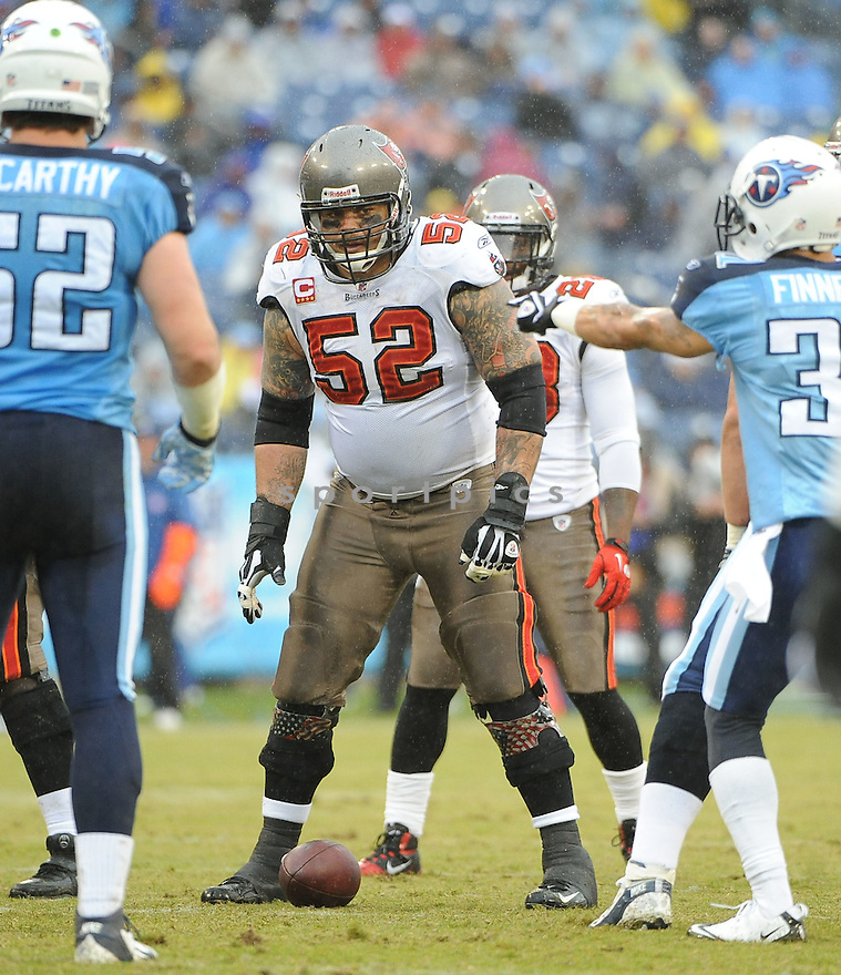 JEFF FAINE, of the Tampa Bay Buccaneers, in action during the Buccaneers game against the Tennessee Titans on November 27, 2011 at LP Field in Nashville, TN. Tennessee beat Tampa Bay 23-17