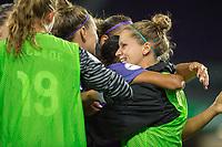 Orlando, FL - Saturday August 12, 2017: Orlando Pride celebrates a goal during a regular season National Women's Soccer League (NWSL) match between the Orlando Pride and Sky Blue FC at Orlando City Stadium.