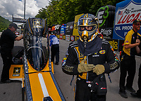 Jun 17, 2017; Bristol, TN, USA; NHRA top fuel driver Tony Schumacher during qualifying for the Thunder Valley Nationals at Bristol Dragway. Mandatory Credit: Mark J. Rebilas-USA TODAY Sports