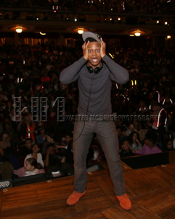 """J. Quinton Johnson before The Rockefeller Foundation and The Gilder Lehrman Institute of American History sponsored High School student #EduHam matinee performance of """"Hamilton"""" at the Richard Rodgers Theatre on June 7, 2017 in New York City."""