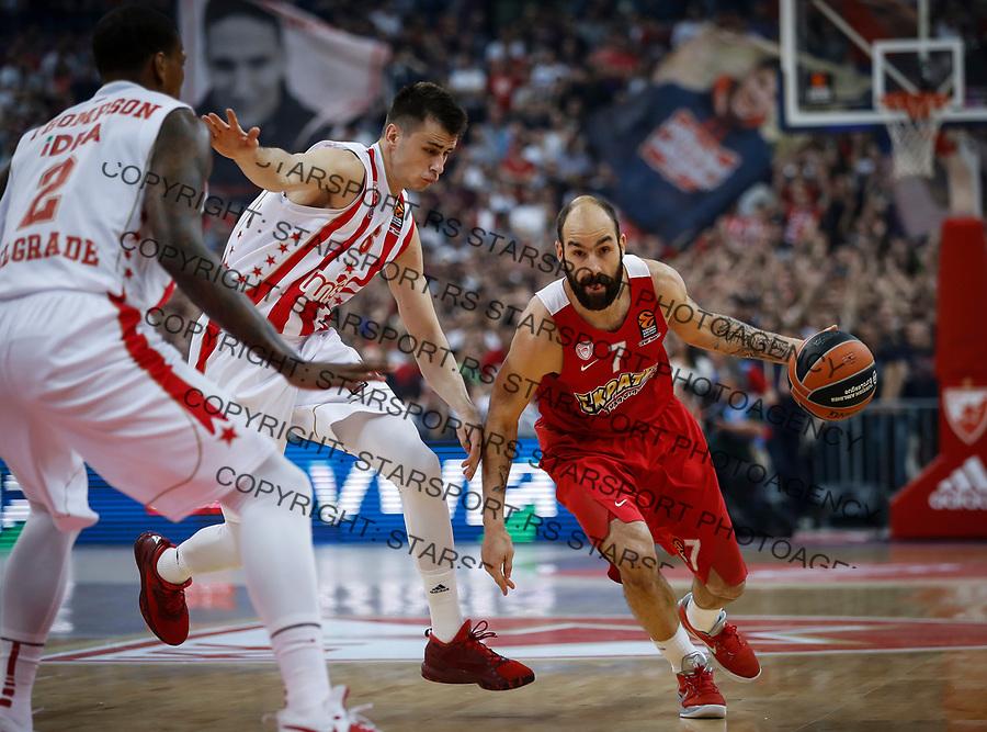 Kosarka Euroleague season 2016-2017<br /> Crvena Zvezda v Olympiacos (Athens)<br /> Vassilis Spanoulis (R) Nemanja Dangubic and Deon Thompson (L)<br /> Beograd, 22.03.2017.<br /> foto: Srdjan Stevanovic/Starsportphoto &copy;