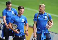 Preston North End's Josh Harrop (left) and Tom Clarke arrive<br /> <br /> Photographer Kevin Barnes/CameraSport<br /> <br /> The EFL Sky Bet Championship - Swansea City v Preston North End - Saturday August 11th 2018 - Liberty Stadium - Swansea<br /> <br /> World Copyright &copy; 2018 CameraSport. All rights reserved. 43 Linden Ave. Countesthorpe. Leicester. England. LE8 5PG - Tel: +44 (0) 116 277 4147 - admin@camerasport.com - www.camerasport.com