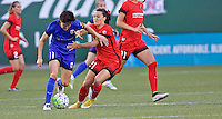 Portland, OR - Saturday July 30, 2016: Keelin Winters, Hayley Raso during a regular season National Women's Soccer League (NWSL) match between the Portland Thorns FC and Seattle Reign FC at Providence Park.