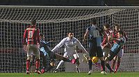 Wycombe keep out a late attack on goal during the Sky Bet League 2 match between Wycombe Wanderers and Morecambe at Adams Park, High Wycombe, England on 2 January 2016. Photo by Andy Rowland / PRiME Media Images