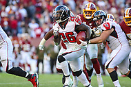Landover, MD - November 4, 2018: Atlanta Falcons running back Tevin Coleman (26) runs the ball during the  game between Atlanta Falcons and Washington Redskins at FedEx Field in Landover, MD.   (Photo by Elliott Brown/Media Images International)