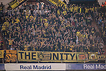 Borussia Dortmund's fans show their supports during the 2016-17 UEFA Champions League match between Real Madrid and Borussia Dortmund at the Santiago Bernabeu Stadium on 07 December 2016 in Madrid, Spain. Photo by Diego Gonzalez Souto / Power Sport Images