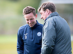 St Johnstone Training&hellip;04.05.18<br />Steven MacLean pictured with Tommy Wright pictured during training this morning at McDiarmid Park<br />Picture by Graeme Hart.<br />Copyright Perthshire Picture Agency<br />Tel: 01738 623350  Mobile: 07990 594431