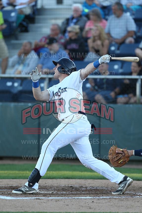 Adam Martin #31 of the Everett AquaSox bats against the Tri-City Dust Devils at Everett Memorial Stadium on July 29, 2014 in Everett, Washington. Everett defeated Tri-City, 7-5. (Larry Goren/Four Seam Images)