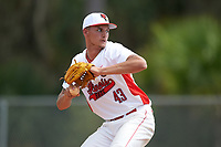 Illinois State Redbirds relief pitcher Tyler Paulsen (43) delivers a pitch during a game against the Michigan State Spartans on March 8, 2016 at North Charlotte Regional Park in Port Charlotte, Florida.  Michigan State defeated Illinois State 15-0.  (Mike Janes/Four Seam Images)