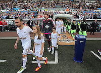 Leon Britton leads his players out of the tunnel before kick off at the Swansea City FC v Manchester City Premier League game at the Liberty Stadium, Swansea, Wales, UK, Sunday 15 May 2016