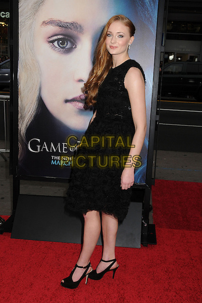 "Sophie Turner.""Game Of Thrones"" 3rd Season Los Angeles Premiere held at the TCL Chinese Theatre, Hollywood, California, USA..March 18th, 2013.full length dress side ruffles frills black sleeveless flowers.CAP/ADM/BP.©Byron Purvis/AdMedia/Capital Pictures."