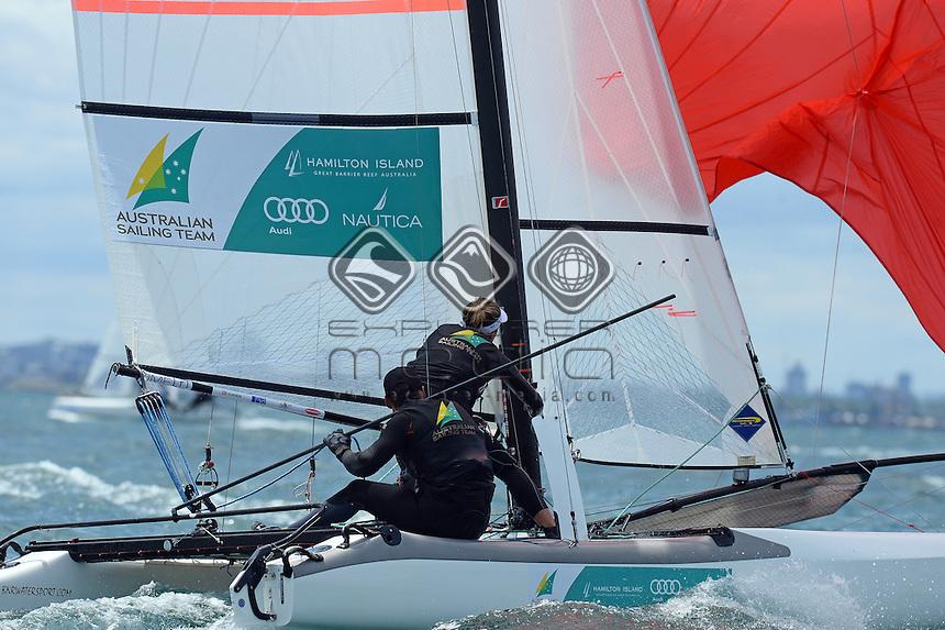 Darren Bundock &amp; Nina Curtis (AUS)<br /> Racing -Day 1 / Nacra 17<br /> ISAF Sailing World Cup - Melbourne<br /> Sandringham Yacht Club<br /> Monday 8 December 2014<br /> &copy; Sport the library / Jeff Crow
