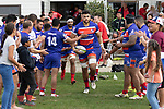 Damon Leasuasua leads the Ardmore Marist team out. Counties Manukau Premier Club Rugby game between Karaka and Ardmore Marist, played at the Karaka Sports Park on Saturday April 21st 2008. Ardmore Marist won the game 29 - 7 after being 7 all at halftime.<br /> Karaka 7 -Kalione Hala try, Juan Benadie conversion.<br /> Ardmore Marist South Auckland Motors (Counties Power Cup Holders) 29 - Sione Tuipulotu, Bryan Mulitalo, Damon Leasuasu, Joseph Ikenasio tries, Latiume Fosita 3 conversions, Latiume Fosita penalties.<br /> Photo by Richard Spranger