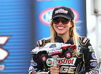 Aug 30, 2014; Clermont, IN, USA; NHRA top fuel dragster driver Brittany Force at driver introductions for the Traxxas Shootout during qualifying for the US Nationals at Lucas Oil Raceway. Mandatory Credit: Mark J. Rebilas-USA TODAY Sports