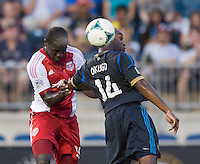 Amobi Okugo (14) of the Philadelphia Union goes up for a header with Andrew Jean-Baptiste (35) of the Portland Timbers during a Major League Soccer game at PPL Park in Chester, PA.  Philadelphia Union tied the Portland Timbers, 0-0.