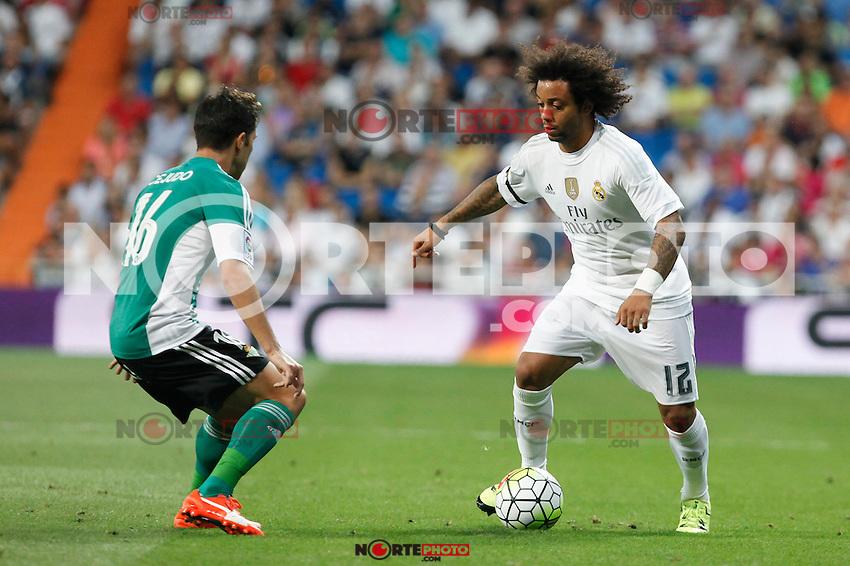 Real Madrid´s Marcelo Vieira during La Liga match at Santiago Bernabeu stadium in Madrid, Spain. August 29, 2015. (ALTERPHOTOS/Victor Blanco)