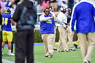 Newark, DE - OCT 29, 2016: Delaware Fightin Blue Hens coach is fired up following a touchdown during game between Towson and Delaware at Delaware Stadium Tubby Raymond Field in Newark, DE. (Photo by Phil Peters/Media Images International)