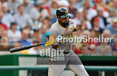 16 May 2012: Pittsburgh Pirates outfielder Yamaico Navarro in action against the Washington Nationals at Nationals Park in Washington, DC. The Nationals defeated the Pirates 7-4 in the first game of their 2-game series. Mandatory Credit: Ed Wolfstein Photo