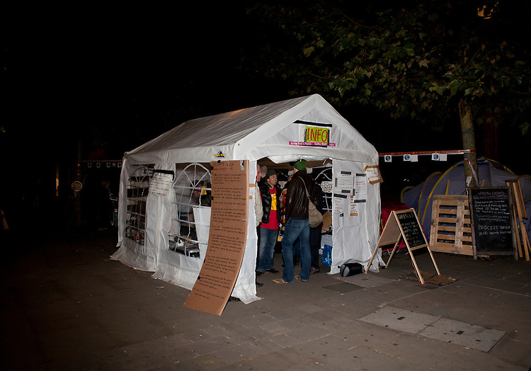 Occupy London. London, October 20th 2011.  The vastly improved 'Info' tent, on the first night the info area was a man in a chair with a sticker that says 'info'.