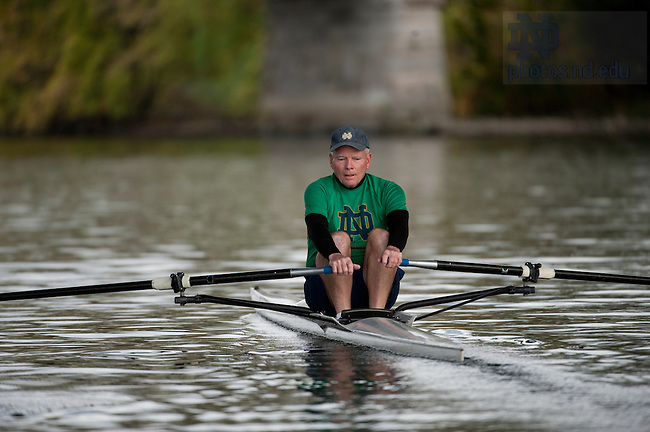October 14, 2011;  Joe Kernan rows on the St. Joseph River near downtown South Bend. Photo by Barbara Johnston/University of Notre Dame..From shortstop to Vietnam to Governor, then back to South Bend.