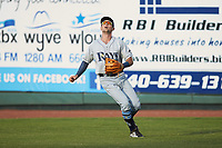 Princeton Rays right fielder Jordan Qsar (8) tracks a fly ball during the game against the Pulaski Yankees at Calfee Park on July 14, 2018 in Pulaski, Virginia. The Rays defeated the Yankees 13-1.  (Brian Westerholt/Four Seam Images)