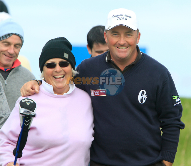 Damien McGrane, with his mum and caddy Attracta, after teeing off on the 13th tee during Day 3 of the 100th Irish PGA championship at Seapoint Golf Club, Co Louth...Picture Eoin Clarke/www.golffile.ie.