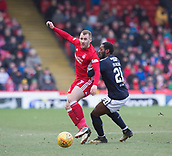 17th March 2018, Pittodrie Stadium, Aberdeen, Scotland; Scottish Premier League football, Aberdeen versus Dundee; Niall McGinn of Aberdeen and Roarie Deacon of Dundee