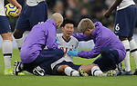 Tottenham's Son Heung-min receives medical treatment during the Premier League match at the Tottenham Hotspur Stadium, London. Picture date: 7th December 2019. Picture credit should read: Paul Terry/Sportimage