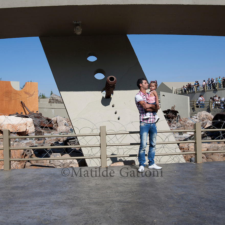 Tourists visiting Mletta Museum. Mleeta tourist landmark of the resistance in Lebanon is a natural museum, which inventively displays the Israeli spoils of war and the resistance weapons in open air on a land of 60,000 m2 of gardens and woods with 5,000 m2 of buildings.It is formed of several sections with outstanding architecture that combines the landmark with natural woods and a large cave. These sections vary from each other in order to portray the story of the resistance against the Israeli enemy in different shapes. The visitor will be aquatinted closely with the methods that the resistance employed to produce liberation in 2000 and victory in 2006.