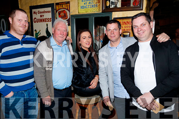 Jonathan Leen, Mike Leen, Joanne O'Hanlon, Barry Leen and Mike Leen, supporting the 80's/90's fundraiser disco, at the Abbey Tavern, Ardfert, on Saturday night last.