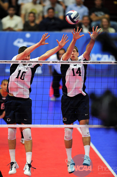 08 MAY 2010:  Nick Turko (10) and Ryan Wolf (14) of Penn State University attempt a block on the Stanford offense during the Division I Men's Volleyball Championship held at Maples Pavilion on the Stanford University campus in Palo Alto, CA.  Stanford defeated Penn State 3-0 to win the national title game.  Josh Duplechian/NCAA Photos