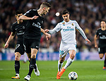 Marco Asensio Willemsen (R) of Real Madrid fights for the ball with Thomas Meunier of Paris Saint Germain during the UEFA Champions League 2017-18 Round of 16 (1st leg) match between Real Madrid vs Paris Saint Germain at Estadio Santiago Bernabeu on February 14 2018 in Madrid, Spain. Photo by Diego Souto / Power Sport Images