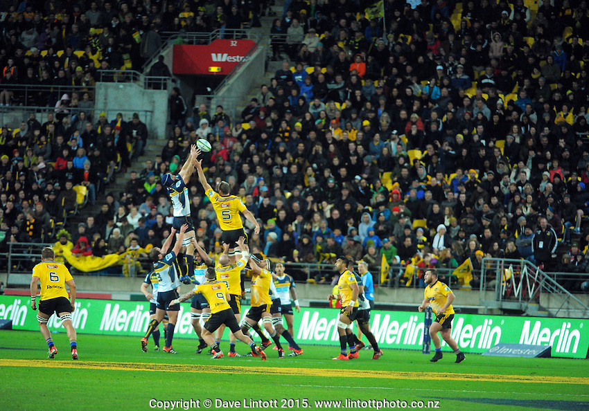 Lineout action during the Super Rugby semifinal match between the Hurricanes and Brumbies at Westpac Stadium, Wellington, New Zealand on Saturday, 27 June 2015. Photo: Dave Lintott / lintottphoto.co.nz