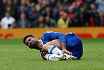 Diego Costa of Chelsea holds his ankle during the English Premier League match at Old Trafford Stadium, Manchester. Picture date: April 16th 2017. Pic credit should read: Simon Bellis/Sportimage