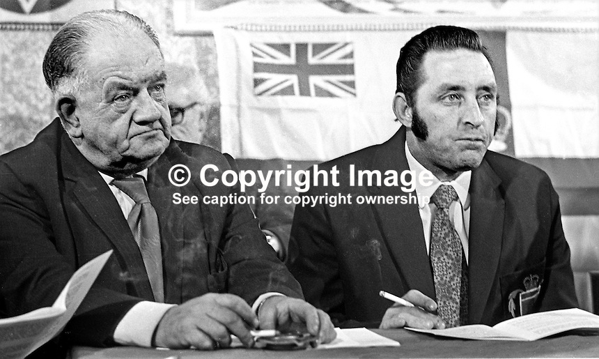 James Anderson, chairman, Ulster Defence Association, Protestant para-military organisation, N Ireland, right, with Billy Hull, joint chairman of LAW, Loyalist Association of Workers, at a joint press conference.197211070702JA+BH.<br />