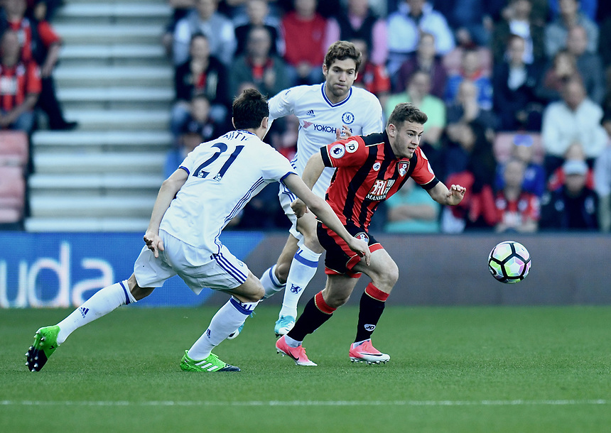 Chelsea's Nemanja Matic (L) battles with Bournemouth's Ryan Fraser (R)<br /> <br /> Bournemouth 1 - Chelsea 3<br /> <br /> Photographer David Horton/CameraSport<br /> <br /> The Premier League - Bournemouth v Chelsea - Saturday 8th April 2017 - Vitality Stadium - Bournemouth<br /> <br /> World Copyright &copy; 2017 CameraSport. All rights reserved. 43 Linden Ave. Countesthorpe. Leicester. England. LE8 5PG - Tel: +44 (0) 116 277 4147 - admin@camerasport.com - www.camerasport.com
