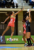 7th September 2017, Te Rauparaha Arena, Wellington, New Zealand; Taini Jamison Netball Trophy; New Zealand versus England;  Silver Ferns Maria Tutaia looks to shoot with Englands Geva Mentor attempting to block