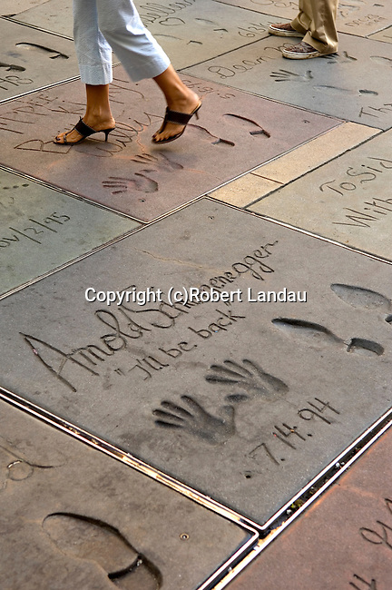 Arnold Schwarzenegger handprints in the courtyard of the Chinese Theater in Hollyqwood, CA