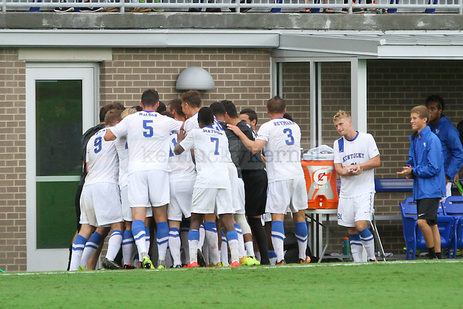 The University of Kentucky men's soccer team celebrates the games first goal in the second half of the University of Kentucky vs. Belmont men's soccer game at the Wendell and Vickie Bell Soccer Complex in Lexington, Ky., on Sunday, August 31, 2014. Photo by Jonathan Krueger | Staff